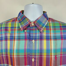 Ralph Lauren Blue Green Yellow Plaid Check Mens Dress Button Shirt Size Large L