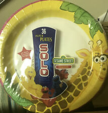 36 Solo 8.5 Compostable Sesame Street Plates Colorful And Fun For Kids 8 1/2 in