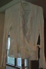 """Coldwater Creek"" Womens Ruffled & Pleated White Blouse Size:  S *NWOT*"