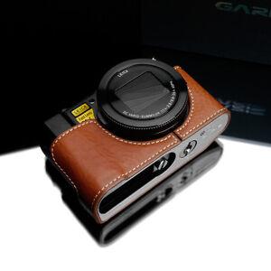 GARIZ Genuine Leather Half Case Panasonic LX10 XS-CHLX10CM Camel Brown