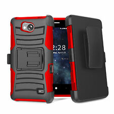 FOR ZTE TEMPO N9131 BLACK RED RUGGED HOLSTER 3PIECE STAND CASE COVER