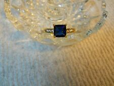 10 KT G F BLUE TOPAZ AND WHITE CZ'S SOLITAIRE RING SIZE 10