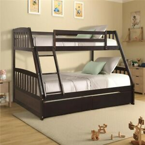 Wood Twin Over Full Bunk Bed Two Drawers Removable Ladder Slats Espresso Brown