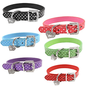 Polka Dot PU Leather Pet Dog Puppy Pooch Cat Puppies Collar Heart Diamnte Charm