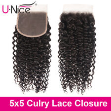 5X5 Curly Lace Closure Free Part With Baby Hair Swiss Lace Brazilian Human Hair