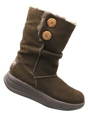 SKECHERS Tone Ups 38710 Womens Brown Suede Leather Faux Fur Winter Boots Sz 6 M