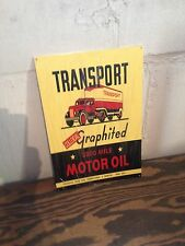 VINTAGE STYLE TRANSPORT THE 3000 MILE MOTOR SIGN PETERBUILT WHITE TRUCK GRAPHICS