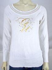 G-unit White Gold Rhinestone Ribbed Long Sleeve Knit Top Juniors Size Medium 7 9