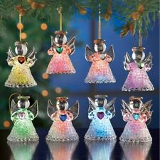 Set of 8 Lighted Color Changing Glass Angel Christmas Tree Ornaments