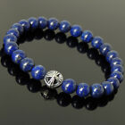 Men's Women Lapis Lazuli 925 Sterling Silver Bracelet with Cross Bead DIY-K 303