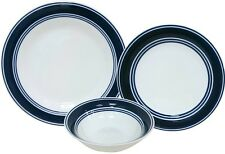 Mainstays COBALT-BLUE BANDED 24 piece dinnerware Set for 8 NEW FREE 2DAY SHIP