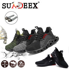 Mens Safety Shoes Steel Toe Work Boots Sneakers Breathable Construction Footwear