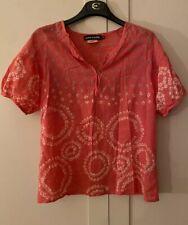 BNWT Antik Batik Pink Cotton Top Blouse, Sz M UK 12. SO PRETTY!