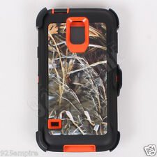 for Samsung Galaxy S5 Defender Orange/Grass Camo Case with Clip&Screen Protector