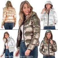 Womens Parka jacket Metallic Winter Bomber Hooded Padded Ladies Puffer Coat 8-16