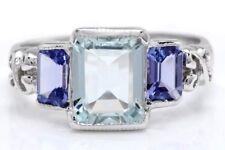 5.80 Carat Natural Blue Aquamarine & Tanzanite 14K White Gold Women's Ring