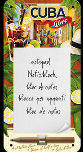Nostalgic Art Cuba Libre Bloc de Notas 10cm X 20cm Letrero de Metal