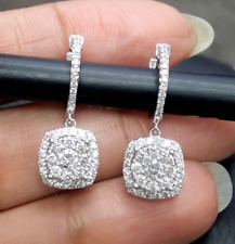 Deal! 1.00CTW  NATURAL ROUND CLUSTER DIAMOND DROP EARRINGS IN 14K GOLD