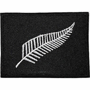 New Zealand Silver Fern Flag Patch Embroidered Iron / Sew On Bag T Shirt Badge