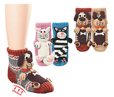 Damen + Kinder ABS Socken 25-42 Homesocks Hund Katze 56361
