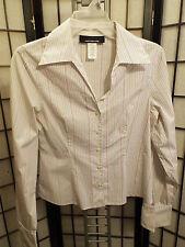 Women's Jones New York L/S Striped Button Down Stretch Shirt Top Blouse Sz 6 B17