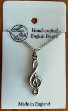 Treble Clef Necklace - Pewter from the Music Gifts Company Made in England
