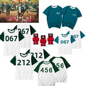 Squid Game T-shirt Tee Unisex Short Sleeve Top Cosplay Numbers Costume Christmas
