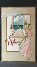 Vintage Post Card To My Valentine Blonde Lady Long Pink Dress & Hat Green Ribbon