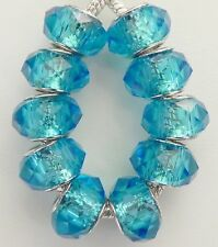 10 Piece Aqua Blue Faceted Beads Fit European Jewelry 9 * 14 mm & 5 mm Hole B062