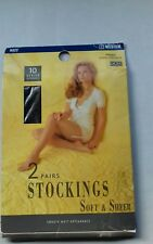 2 Pair M&S soft&sheer 10 denier Navy nylon smooth matt stockings Size Medium