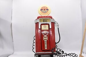 Vintage Gasoline Highway Phone Wall mount Man Cave Gas Pump Red - AS-IS