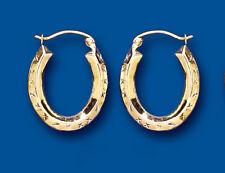Hoop Earrings Yellow Giold Oval Diamond Cut Creole Hallmarked