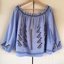 Womes Kiik Luxe Blue Embroidered Off Shoulder Peasant Top Size L