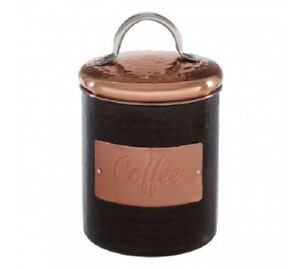 Prescott Black Hammered Copper Coffee Canister Jar Metallic Stainless Steel