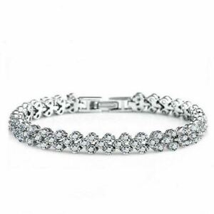 CZ Tennis Bracelet Round Brilliant Cut Cubic Zirconia Rose Gold/Silver