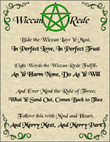 Wiccan Rede Poster Wicca Pagan New Age Goth Witch Spirit Pentacle Goth Magic