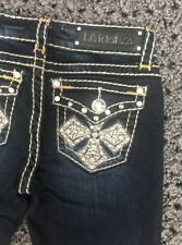 LA IDOL Capri Jeans Bling Flap Pocket Crop Juniors Sz 1 Blue White Stitch Cross