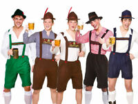Mens Bavarian Beer Guy Oktoberfest Outfit Fancy Dress German Lederhosen New
