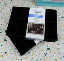 11 Compartment Organizer Non-Slip Multi-Purpose Black Velvet Jewelry Drawer 2pk