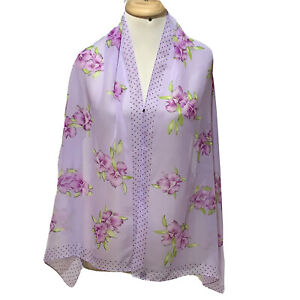 UNBRANDED FLORAL ¨PURPLE LONG POLYESTER SCARF 62/20 in #A3 MADE IN CHINA