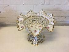Vintage German KPM Pierced Porcelain Centerpiece Compote w/ Floral & Gold Dec.