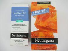 Neutrogena Healthy Skin Face Lotion 2.5 oz 73 ml & 2 Transparent Facial Bars
