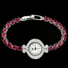 Sterling Silver 925 Oval Genuine Natural Pink Ruby & Lab Diamond Watch 6.75 In