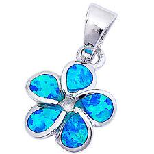 "Blue Opal Plumeria .925 Sterling Silver Pendant 3/4"" long"