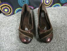 Bamboo Dark Brown Multi-Texture and Fabric Slip On Ballet Style Flats, Sz 9