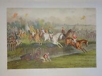 GRANDE LITHO COULEUR ALFRED LEMERCIER SCENE COURSE HIPPIQUE JOCKEY CHEVAL  1870