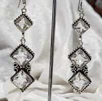 Sterling Silver Overlaid Faceted White Topaz Droplet Earrings