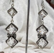 White Topaz Droplet Earrings Sterling Silver Overlaid Faceted