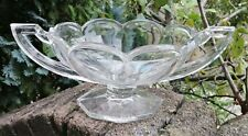 More details for large trophy bowl pressed clear glass heavy 36cm scallop edged lovely rare