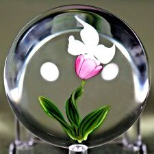 Elegant GORDON SMITH Blooming ORCHID Flower ART Glass PAPERWEIGHT Sculpture